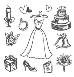 Hand drawn Set of wedding accessories vector image