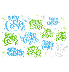 Hand lettering happy easter text set vector