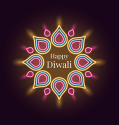 Happy diwali banner in bright neon style vector