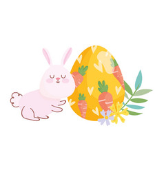 happy easter bunny egg painting with carrots vector image