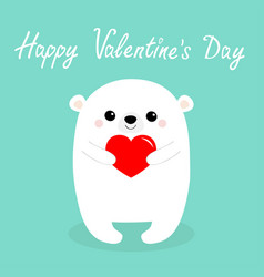 happy valentines day white babear head face vector image