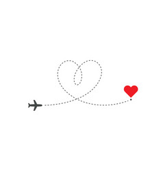 Heart shaped airplane flying on love route to vector