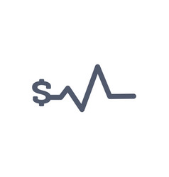 heartbeat pulse with dollar sign bussiness vector image