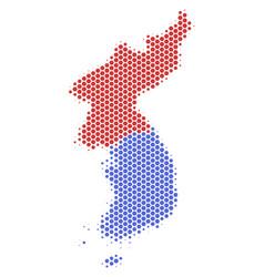 Hexagon halftone north and south korea map vector