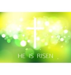 Hi is risen happy easter green background vector
