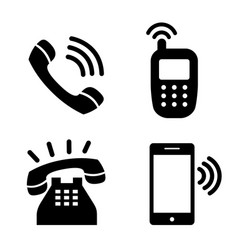 icon phone simple telephone communication vector image
