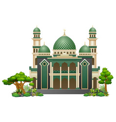 islamic mosque building with green plant vector image