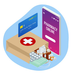 isometric buy medicaments and drugs online vector image