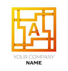 Letter a symbol in the colorful square maze vector