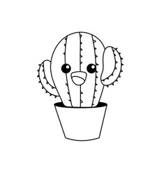 Line kawaii cute tender cactus plant vector