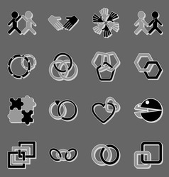 Link and relationship icons with shadow vector