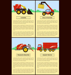 Loader and trailed sprayer set vector