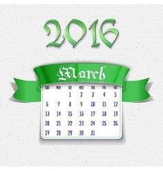 March 2016 calendar template vector