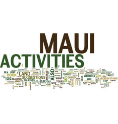 Maui activities text background word cloud concept vector