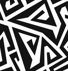 monochrome labyrinth seamless pattern vector image