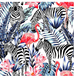 Pink watercolor flamingo zebra and blue palm vector