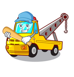 playing baseball cartoon tow truck isolated on vector image