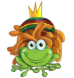 rasta frog cartoon isolate on white vector image