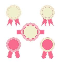 Retro pink color set ribbon banner badges vector