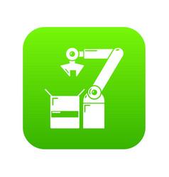 robot factory icon green vector image