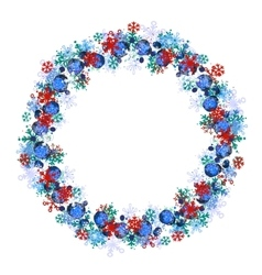 Round frame with different blue snowflakes vector image