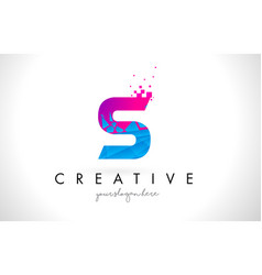 S letter logo with shattered broken blue pink vector