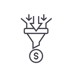 Sales funnel linear icon sign symbol on vector