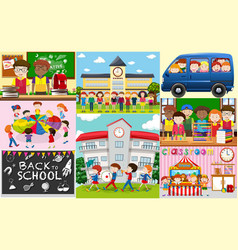 School scenes with students and classrooms vector