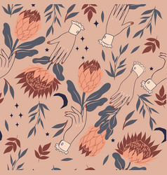 Seamless pattern with birds protea flowers vector