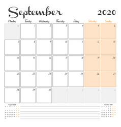 September 2020 monthly calendar planner printable vector