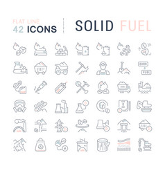 Set line icons solid fuel vector