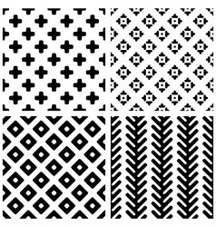 Set of 4 monochrome geometric seamless patterns vector image