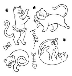 set of funny cartoon cats hands painted kittens vector image