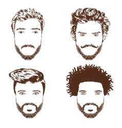 Set of men s hairstyles beards and mustache Hand vector