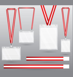 set of red lanyard and badge vector image