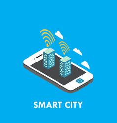 Smart city isometric template design vector