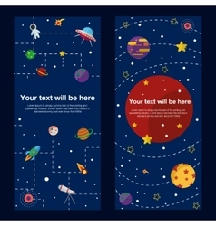 Space theme banners and cards with flat astronomic vector