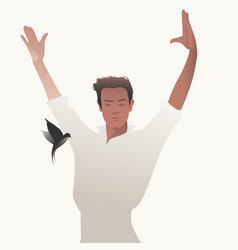 Spanish flamenco dancer man and flying swallow on vector