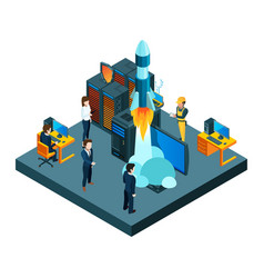 successful business startup isometric vector image
