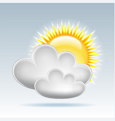 Sun and clouds weather web icon vector