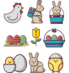 sweet and cute easter icon collection 1 vector image