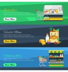 Three Horizontal Supermarket Banners vector image