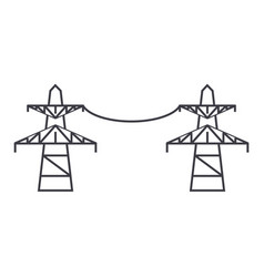 transmission lines thin line icon concept vector image