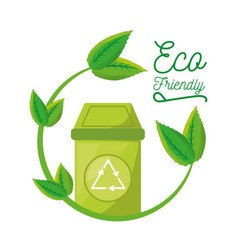 trash can with recycling symbol for the planet vector image