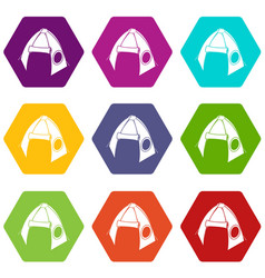 tribal tent icons set 9 vector image