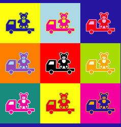 truck with bear pop-art style colorful vector image