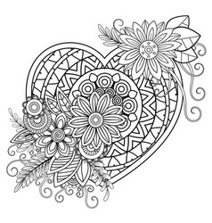 Valentines day coloring page vector