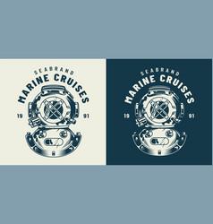 Vintage diving label concept vector