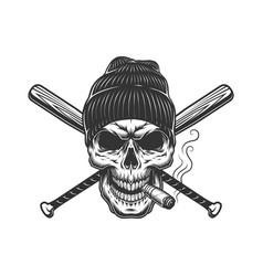Vintage gangster skull in beanie hat vector