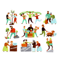 Volunteering situations cartoon collection vector